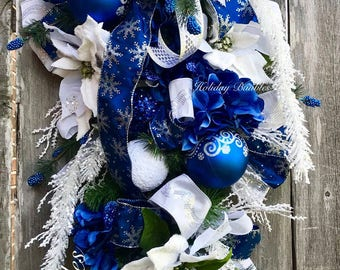 Christmas Wreath, Christmas Swag, Christmas Teardrop Swag, Blue Christmas, Winter Wreath, Winter Swag