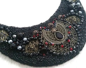 "Handmade Necklace ""Black Fantasy"", Collars, Necklaces, Bead Embroidery Earrings, Seed Beeds, Original Jewellery, Pearls, Women Gifts"