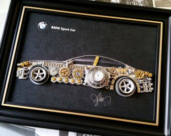 BMW model Code M 208, Men gifts, Vintage clocks, Men watches, Tshirt design, Original artworks, Handmade art, Office decoration