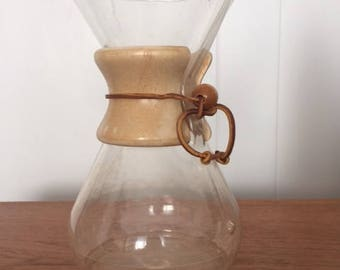 Vintage Chemex Glass Pour Over Coffee Leather Tie
