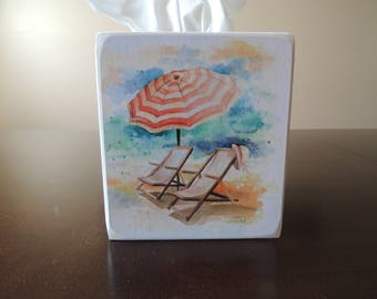 Beach Chairs with Umbrella- Pastel Tissue Box
