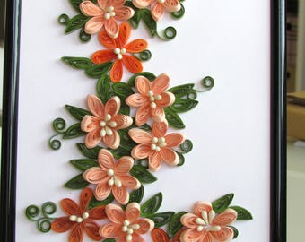 Flower Quilling Art, Framed Flower Quilling Picture, Wall Art Decoration, Quilling Hanging, Paper Quilling Art