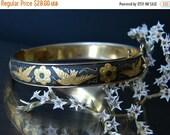 SALE Damascene jewelry. Floral bangle. Hinge bangle. Bird flower gold black bangle