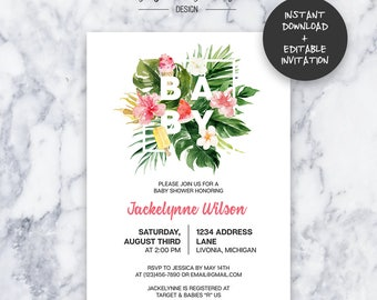 Tropical Baby Shower Invitation | INSTANT DOWNLOAD | Editable PDF| Do It Yourself | Printable