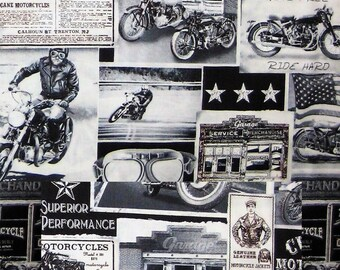 Motorcycles & Pickup Trucks Cotton Fabric! 6 Fabrics [Choose Your Cut Size]