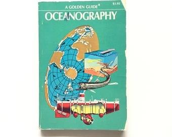Vintage Golden Guide- Oceanography / Book on the Ocean / Vintage Field Guide / Golden Nature Guide / Science Book / Homeschool Book