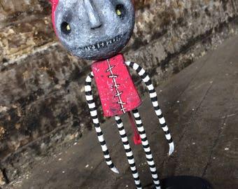 OOAK Art Doll/ Halloween Decor/Halloween figurine/Oddities/Figurine/Gothic Decor/Gothic Art/Decor/Creepy Cute/Vintage Halloween/Horror decor