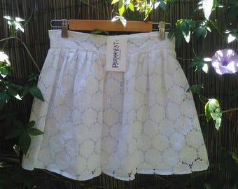 white cotton lace pleated short skirt