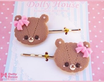 Chocolate Cookie Bear Hairpins by Dolly House