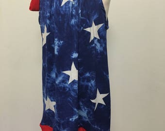 Fourth of July Dress with Adjustable Red Neck Bow, Baby Girl Dress, 4th of July, Pillowcase Dress