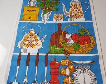 1970s, Tea Towel, Retro, Vintage, French, Cafe, Kitchenalia, Vintage Tea Towel.