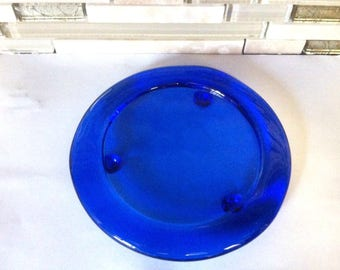 Cobalt Blue Glass Coaster or Candle Plate, Holder