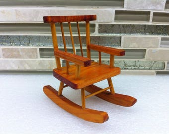 Wooden Rocking Chair Toy - Doll House Chair - Miniature  Baby Doll Wooden Rocking Chair - Baby Doll Furniture