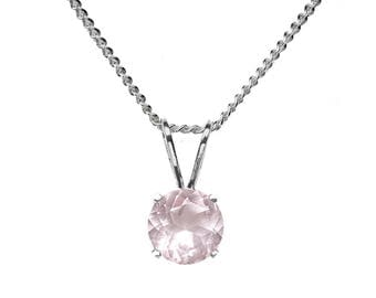 6mm Round Faceted Genuine Rose Quartz 925 Sterling Silver Pendant + Chain / Necklace