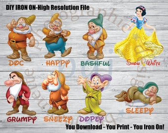 DIY Iron-On -Snow White & 7 Dwarfs Tees! Perfect for your Disney trip/Photoshoot! Doc/Sneezy/Sleepy/Bashful/Grumpy/Dopey/Happy