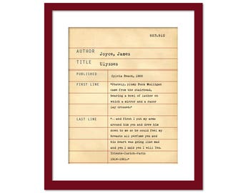 Ulysses by James Joyce - Library Card Art Print - Book Lover Poster - Library Poster - Children's Book Gift - Dewey Decimal System - Irish