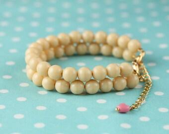 "Arm Jewellery ""cream-happiness"" bracelet glass beads Sand"