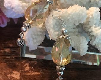 Drop light yellow tone crystal earrings -Crystal earrings - Earrings - Wedding Earrings