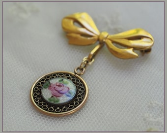 Vintage LaMode Guilloche Enamel Brooch - Gold Filled - Bow Ribbon and Enameled Pink Rose