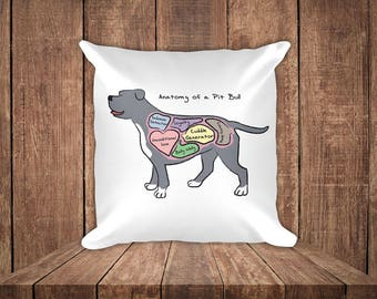 Anatomy of a Pit Bull - Funny Pit Bull Dog Square Pillow