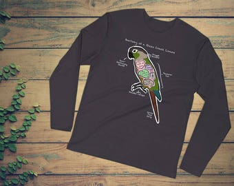 Anatomy of a Green Cheek Conure - Funny Green Cheek Conure Shirt - Long Sleeve Fitted Crew