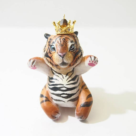 HOUSE GUARDIAN / TIGER - Handmade Polymer Clay Sculpture With a Swarovski Crystal
