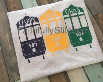 Mardi Gras STREETCAR Tshirt. Adult Small to XL, HTV vinyl shirt. Purple green gold