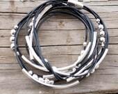 Black leather wrap bracelet for women - silver-toned metallic beads - magnetic clasp - beaded bracelet - simple wrap bracelet - boho jewelry