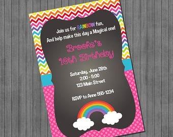 FLASH SALE Rainbow Party Invitation