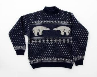 Vintage Sweater // Benetton Navy Sweater with Polar Bears // Shetland Wool Sweater