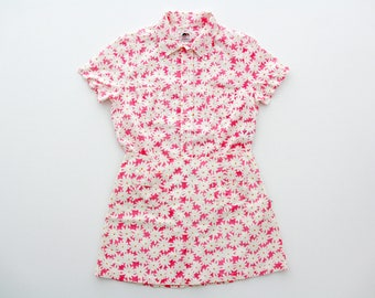 Vintage FIORUCCI Shirt and Skirt Set // Pink with Daisy Print Short Skirt and Button Down Top