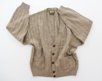Vintage Sweater // Men's Beige Grandpa Cardigan with Pockets // Braided Il Granchio Sweater