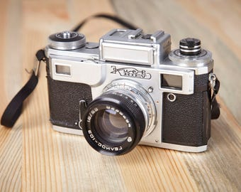 Film Camera KIEV-4AM. With original leather case.Rangefinder Film Camera. Working Old Camera. Contax copy.