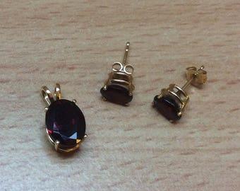 Garnet Pendant with Earrings, Gold Vintage Jewelry ETSY SALE