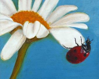 "Ladybug  7,87""x7,87""  Original painting"