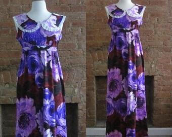 December Sale 1960s hawaiian floral maxi dress