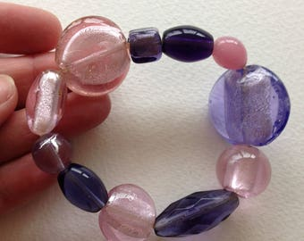 Bracelet  - pretty glass beaded elasticated  beaded bracelet pink and purple