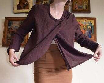 Brown Gauzy Criss Cross Top