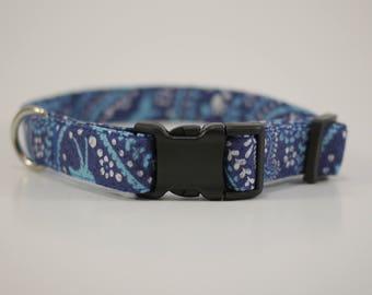 Blue paw print collar