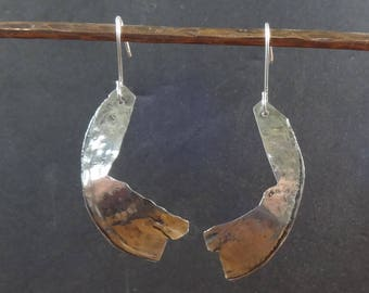 Artisan Sterling Silver Modernist Earrings-Moon,Hammered,Folded,Long,Light