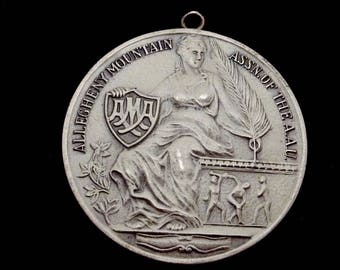 Vtg 1947 AMA Sterling Silver Balfour Swimming Medal Pendant Pittsburgh PA 23436