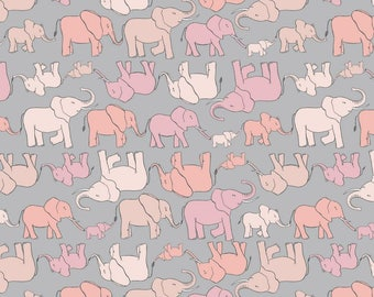 Elephant Family on Pink, Lewis and Irene, quilting cotton, fabric by the yard, nursery prints, jungle, animal fabric, marching elephant