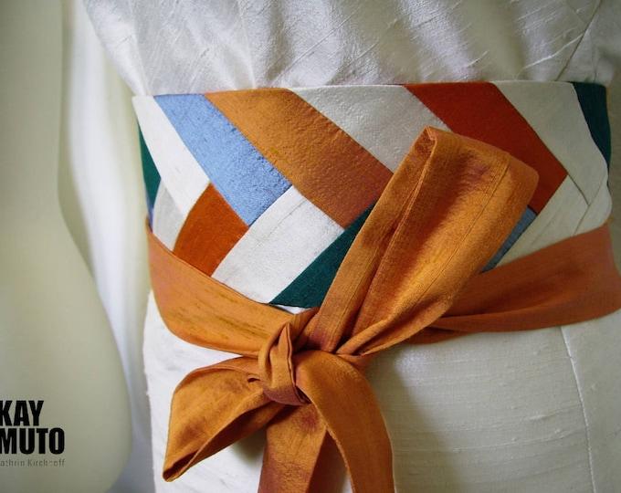 Obi belt sash INTARSIA silk shantung SUMMER MOOD