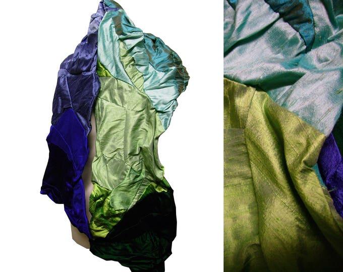 Shawl scarf silk blue green gradient