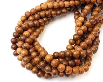 8mm Bayong Natural Wood Beads 16 inch Strand, 50 Beads for Mala Necklaces
