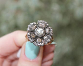 Georgian Antique Ring Rose cut diamond Golda and Silver 18k