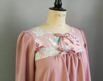 Dusty pink winter dress / 70s smock dress / floral bibbed dress / vintage trapeze dress / hippie vintage dress / bohemian dress / UK 10