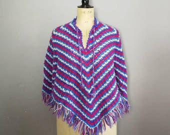 70s striped poncho / vintage colourful wool poncho / retro poncho cape / purple red striped wool cape / boho hippy poncho / 70s hippie