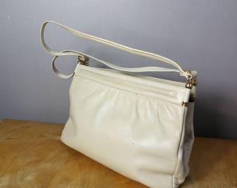 Cream leather handbag / 70s cream purse / Jane Shilton bag / 70s leather bag / cream vintage bag