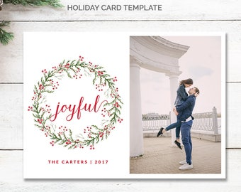 Joyful Christmas Card Template, Wreath Christmas Card With Photo, Minimal Christmas Photo Card, Minimalist Holiday Card, mc189